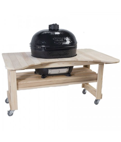 Primo Oval Extra Large Grill w/  Cypress Table - Kamado XL (400-830 sq in)
