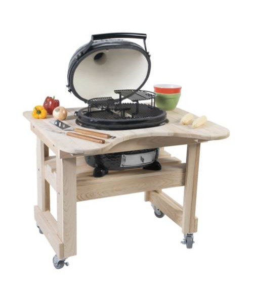 Primo Oval Junior Kamado Grill w/ Cypress Table (210-360 sq in)