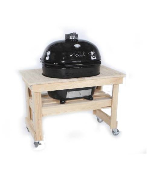 Primo Oval Extra Large Grill w/ Compact Cypress Table - Kamado XL (400-830 sq in)